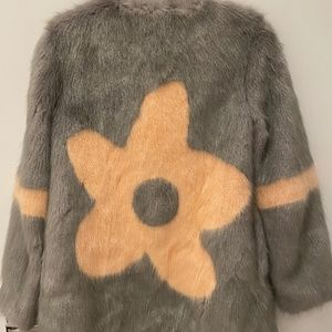 SHRIMPS smoke grey and peach faux fur coat